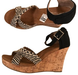 TOMS black/ivory Wedges