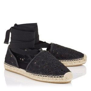 Jimmy Choo Dolphin Lace Embroidered Espadrille Tie black Flats