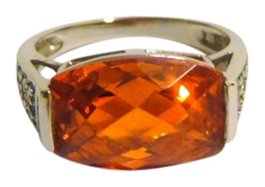 Technibond Technibond Platinum Plated Padparadscha Faceted Lab Created Gemstone Ring with Diamond Accents size 7
