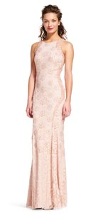 Adrianna Papell Beaded Halter Sheer Gown Dress