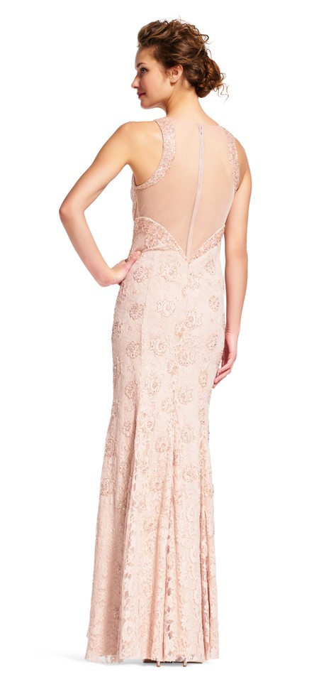 1e0466df501 Adrianna Papell Blush Beaded Lace Halter with Open Back Long Formal ...