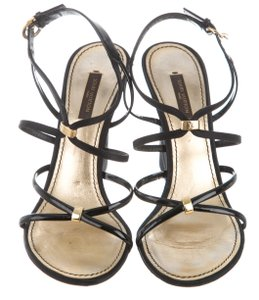 Louis Vuitton Strappy Lv Gold Hardware Ankle Strap Logo Black, Gold Sandals