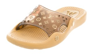 Louis Vuitton Pvc Gold Hardware Monogram Lv Perforated Brown, Gold Sandals