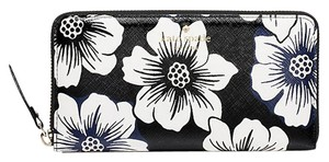 Kate Spade Kate Spade Black Floral Cedar Street Lacey Zip Around Wallet