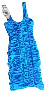 LVLX Diamond Rouching Shoulder Decal Party Dress