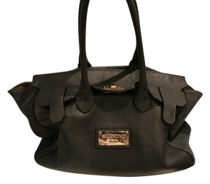 Valentino Leather Suede Gold Accents Satchel in Grey