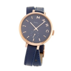 Marc by Marc Jacobs Sally Navy Leather Double Wrap Rose Gold Tone Stainless Steel Watch