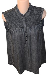 Style & Co Silver Metallic Sleeveless Top BLACK