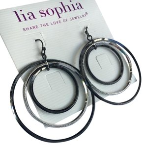 Lia Sophia Lia Sophia Hula Hoop silver hematite earrings, approx 2 inches