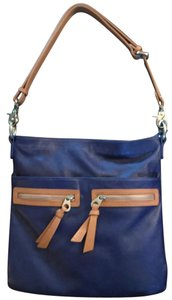 Christopher Kon Leather Zipper Trim Satchel in Bright Blue