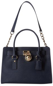 Michael Kors Hamilton East West Navy Blue Satchel in Black