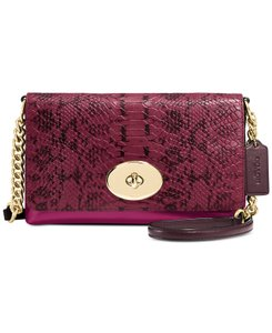 Coach Embossed Plum Cross Body Bag
