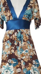 Wet Seal short dress Teal and Brown Floral on Tradesy