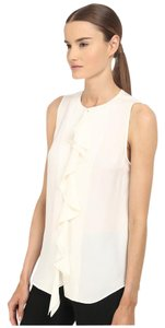 Theory Silk Ruffle Ruffle White Top Ivory