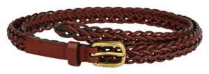 Gucci Red Braided Leather Skinny Belt w/gold Buckle 95/38 380607 7508