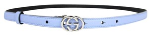 Gucci New GUCCI Leather Skinny Belt Interlocking G Buckle 85/34 370552 4503