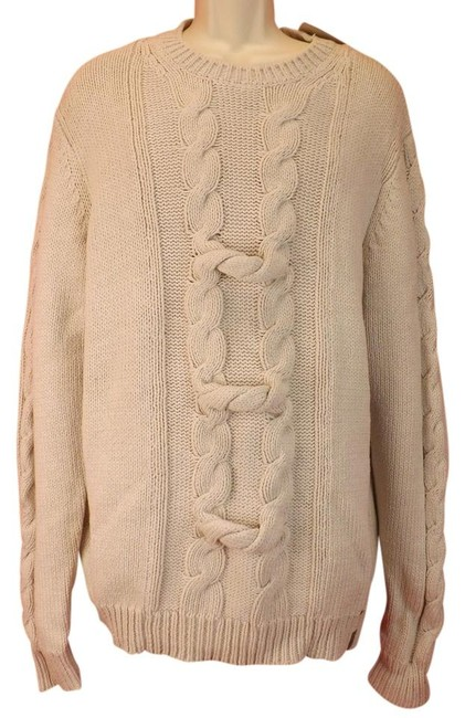 Item - Beige XL Men's Ivory Aran Knit Cotton Viscose Silk Fishermen Cable Sweater Shirt