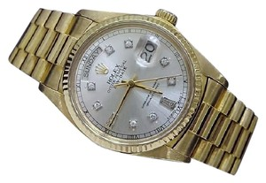 Rolex Mens Rolex 18K Gold Day-Date President Silver Diamond 18038