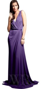 Pia Gladys Perey Draping Stretchy Royal Plum Vneck Dress