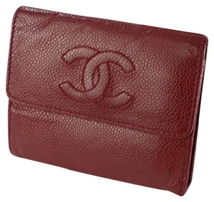 Chanel Red Caviar Skin Bifold Wallet