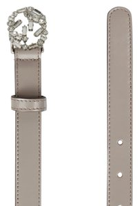 Gucci NEW GUCCI Crystal Interlocking G Leather Thin Belt Taupe 100
