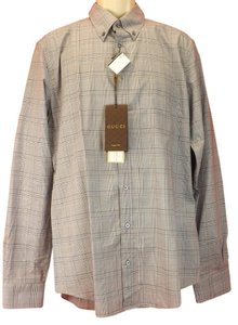Gucci Multi-color Mens Blue/Gray Plaid 333757 4201 Dress Classic Fit 16 41 Shirt