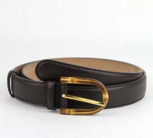 Gucci Women's Cocoa Brown Leather Belt w/Bamboo Buckle 85/34 322954 2140