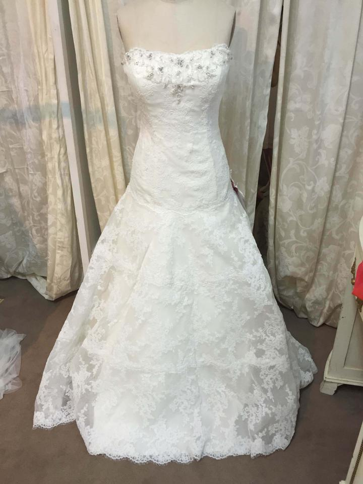 David tutera for mon cheri ivory lace and tulle 212246 for Mon cheri wedding dress prices