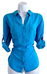 a.n.a. a new approach Button Cuff Turquoise Bright Buttons Silky Button Down Shirt Blue