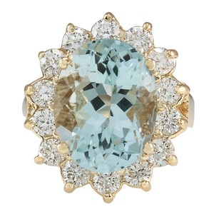Fashion Strada 10.48Ct Natural Aquamarine And Diamond Ring In14K Solid Yello Gold