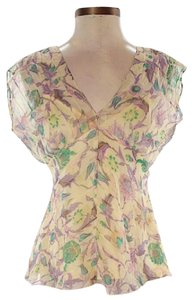 Diane von Furstenberg Silk Print V-neck Scoop Back Top