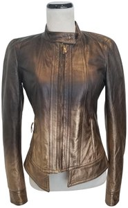 Roberto Cavalli Leather Ombre Metallic Motorcycle Jacket