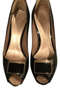 Versace Leather Gold Hardware Medusa Black Pumps