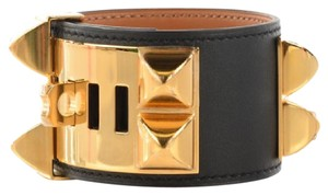 Hermès Hermes CDC Black Epsom Collier de Chien Bracelet Rose Gold HW NEW