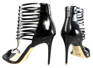 Michael Kors Patent Leather Stiletto Strappy Black Sandals