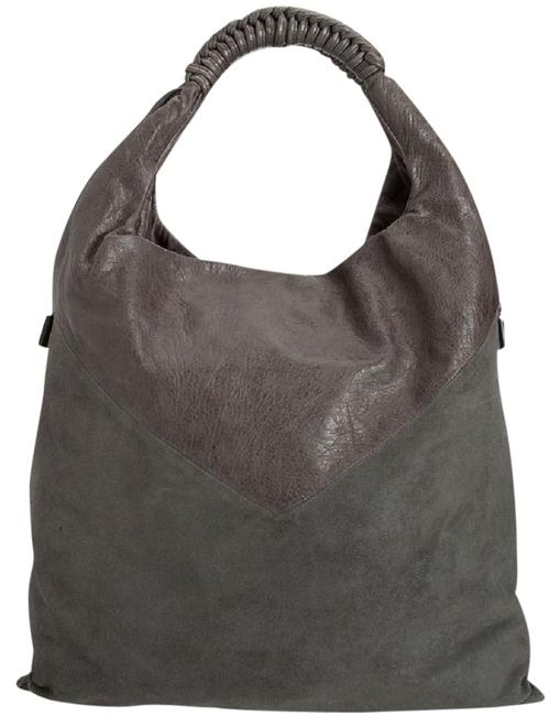 Item - Suede And Gray Leather Shoulder Bag