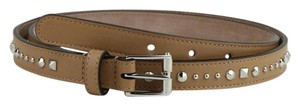 Gucci Studded Caramel Brown Leather Belt w/silver Buckle 100/40 380561 2754
