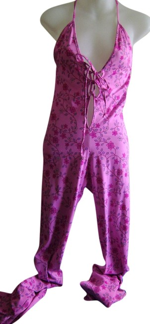 Preload https://img-static.tradesy.com/item/2131892/pink-with-floral-pattern-cat-type-suit-bell-bottoms-club-wear-hippie-60-s-long-romperjumpsuit-size-4-0-0-650-650.jpg