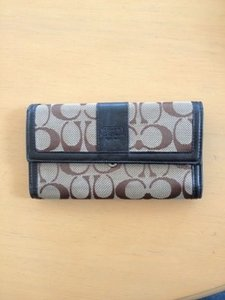 Coach Brown and Tan Signature Wallet