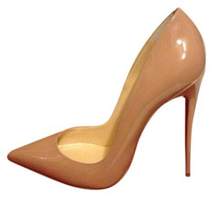 Christian Louboutin So Kate 120 Patent Leather Stiletto Heels Nude Pumps TAN Pumps