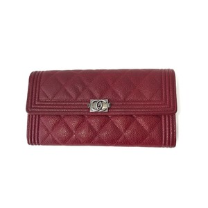 Chanel Chanel Red Caviar Leather Boy Flap Wallet