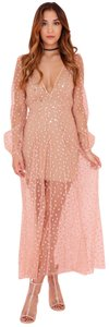 For Love & Lemons Boyfriend Shorts All That Glitters Maxi Lace Dress