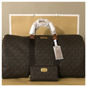 e4e43e73c831 Michael Kors Mk Js Xl Duffle   Wallet Brown Weekend Travel Bag - Tradesy