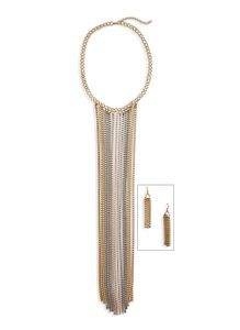 Self Esteem Box Chain Fringe Collar Necklace with Earrings