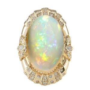 Fashion Strada 14.98CTW Natural Opal And Diamond Ring In 14K Yellow Gold