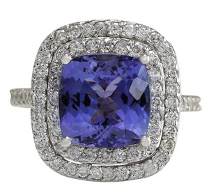 Fashion Strada 6.09CTW Natural Blue Tanzanite And Diamond Ring In 14K White Gold