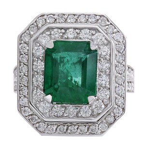 Fashion Strada 4.59CTW Natural Emerald And Diamond Ring 14K Solid White Gold