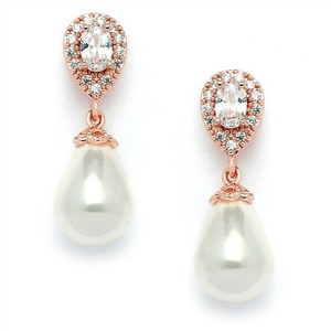 Gorgeous Rose Gold Crystal Pear Bridal Earrings With Bold Pearl Drop