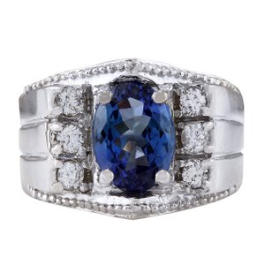 Fashion Strada 4.62CTW Natural Mens Tanzanite And Diamond Ring In 14K White Gold