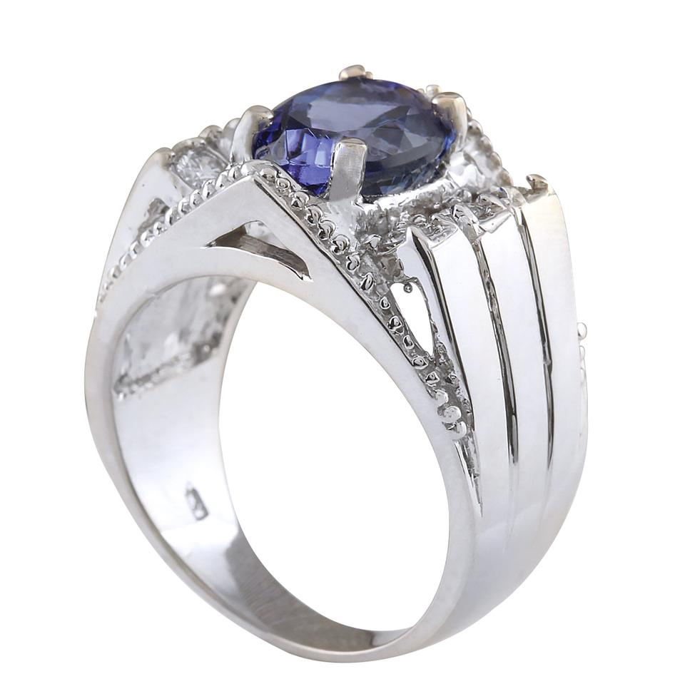 mens tanzanite ring white solid gold diamond natural image ctw and